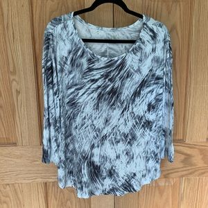 A.n.a Black & White 3/4 Sleeve Scoop Neck Top XL